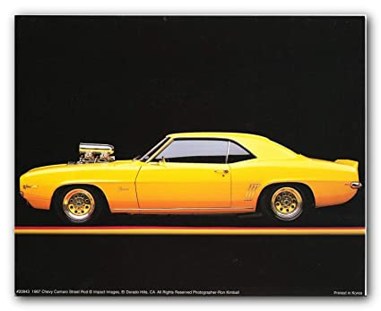 Amazon Com 1967 Chevy Camaro Poster Street Rod Vintage Car Art