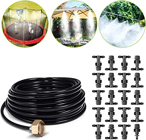 Misting Cooling System Outdoor Misters Automatic Plant Watering System 8x5MM 65.6FT 20M Misting Line 20 Mist Nozzles 3 4 Inch Brass Threaded Adapter for Patio Garden Greenhouse Umbrellas Trampoline