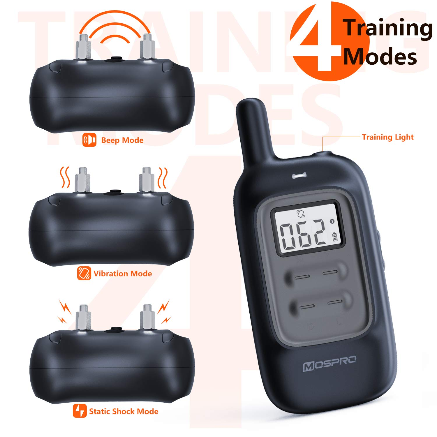 Shock Collar for Dogs - Dog Training Collar with Remote 1000Ft Rechargeable Rainproof Anti Bark E Collar,Beep Vibration Shock for Small Medium Large Dogs (2018 New) by MOSPRO (Image #3)