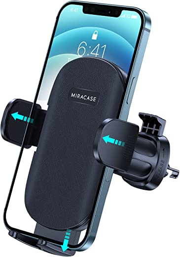 2021 Upgraded Miracase Deepened Clamp Car Phone Mount, Ultra Stable Air Vent Cell Phone Holder for Car Compatible with iPhone 12 11 Pro Max Mini SE XS XR Galaxy S20 Note 20 10 etc