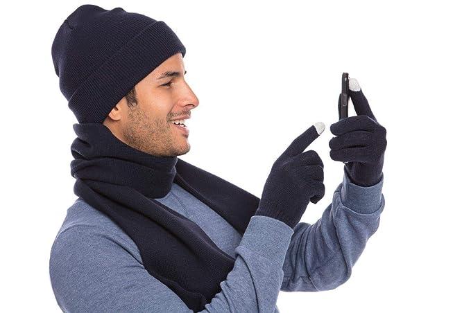 3df9877c6d330 Casaba Winter 3 Piece Set Beanie Hat Scarf Touchscreen Gloves Flat Knit for  Men Women