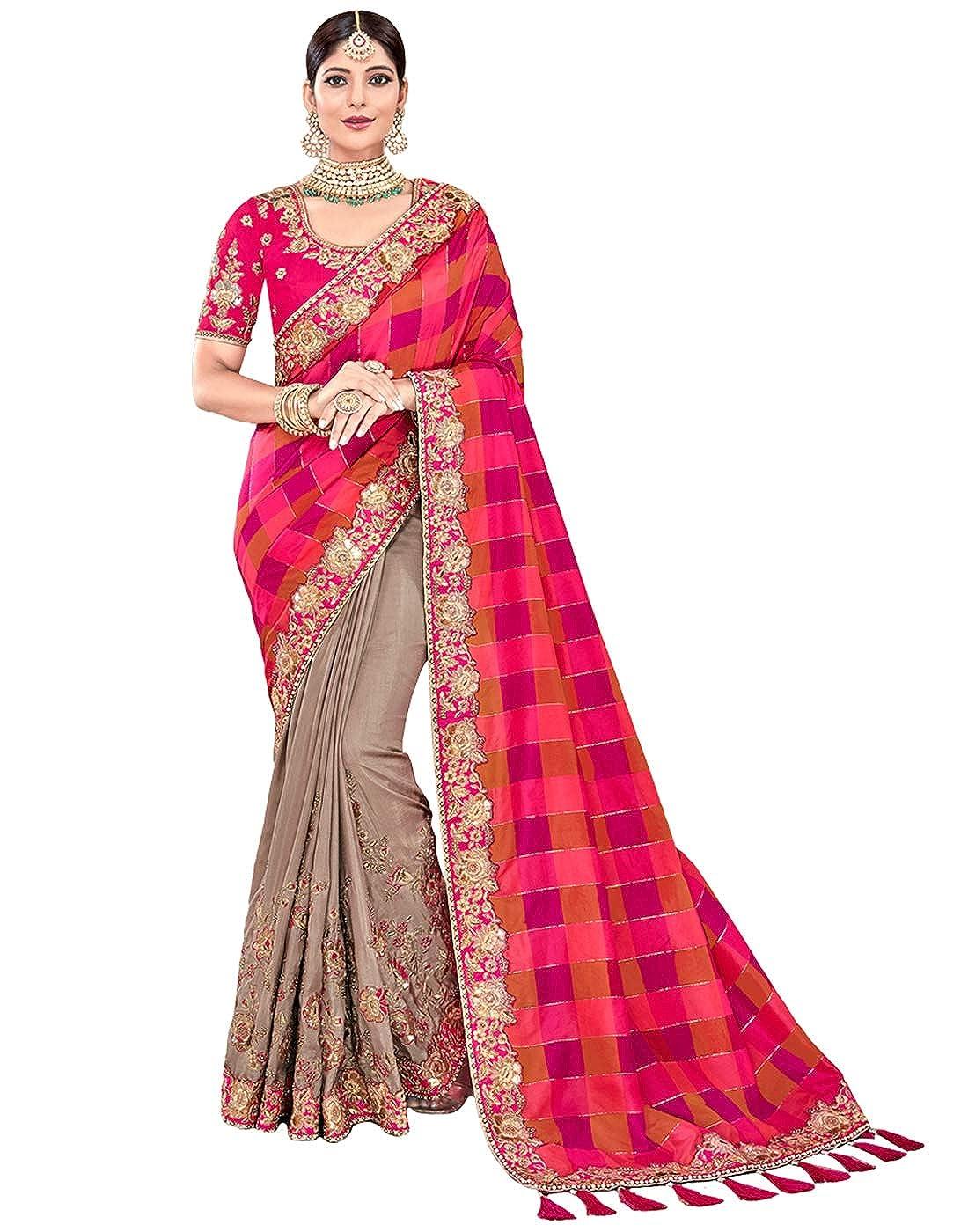 8456c395aa71cb Amazon.com: DesiButik's Party Wear Divine Pink And Grey Dyed Weaving Silk  Saree: Clothing