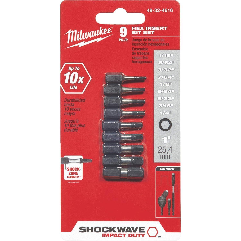 9 Piece Milwaukee Electric Tool 48-32-4616 Electric Impact Hex Insert Bit Set