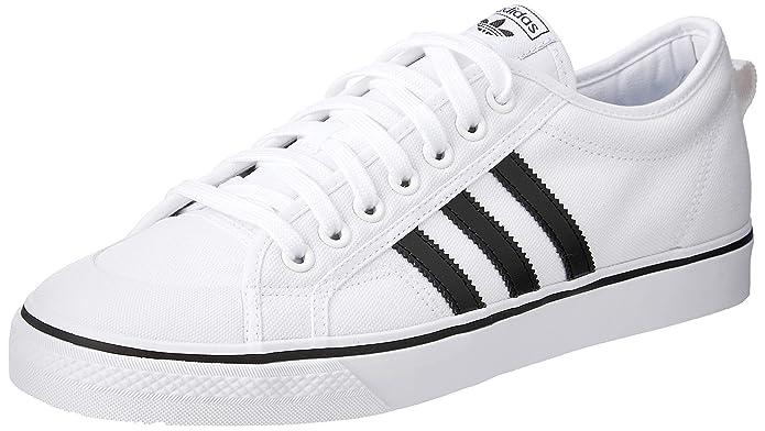 adidas Herren Nizza Sneaker Weiß mit schwarzen Streifen