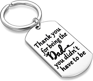 Stepdad Gifts from Stepdaughter Stepson Step Dad Keychain Key Tags Father's Day Gifts for Stepfather Father in Law from Daughter Son (Thank You for Being The Dad You Didn't Have to Be 02)
