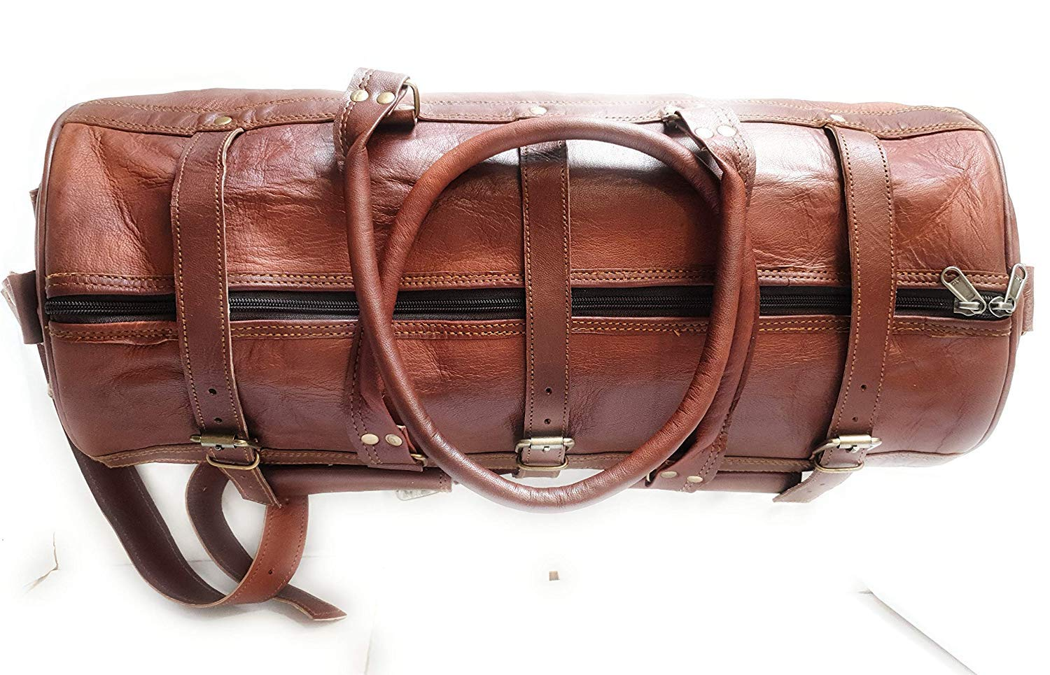 Dark Brown Pranjals House Leather Duffel Bag for Travel