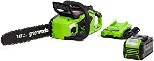 "Greenworks 40V 16"" Brushless Chainsaw, 4Ah USB Battery and Charger Included CS40L412"