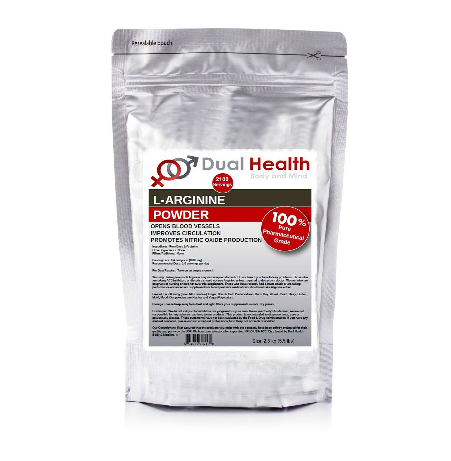 Pure L-Arginine (2.5kg (5.5 lbs)) Free Form Base Powder Bulk Supplements