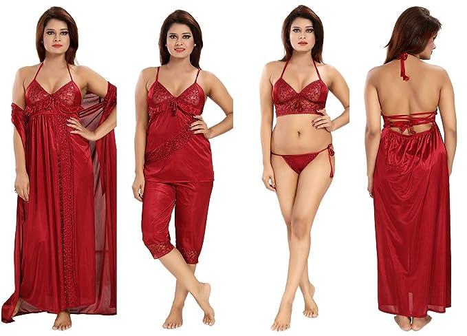 66e2359c6fb Romaisa Women s Fabric Satin Nightwear (SP625-346