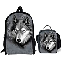 FOR U DESIGNS Animal Zoo Backpack Set 3 Piece School Bags for Teen Boys Lunch Bags Pen Holder