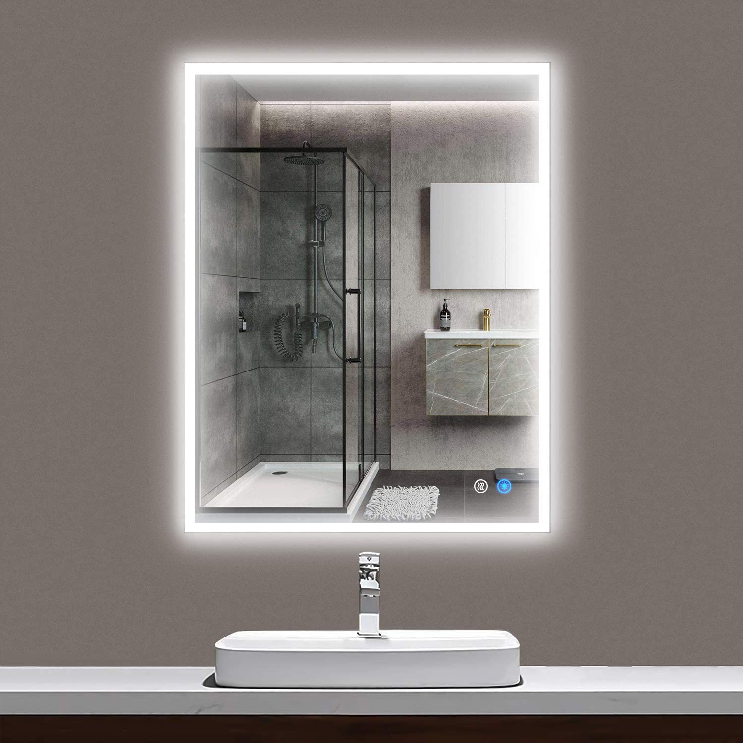 Amazon Com Maistech Bathroom Mirror With Led Lights Large Wall Led Vanity Mirror Lighted Bathroom Mirror Anti Fog Dimmable Frameless Makeup Mirrors 32 X 24 Home Kitchen