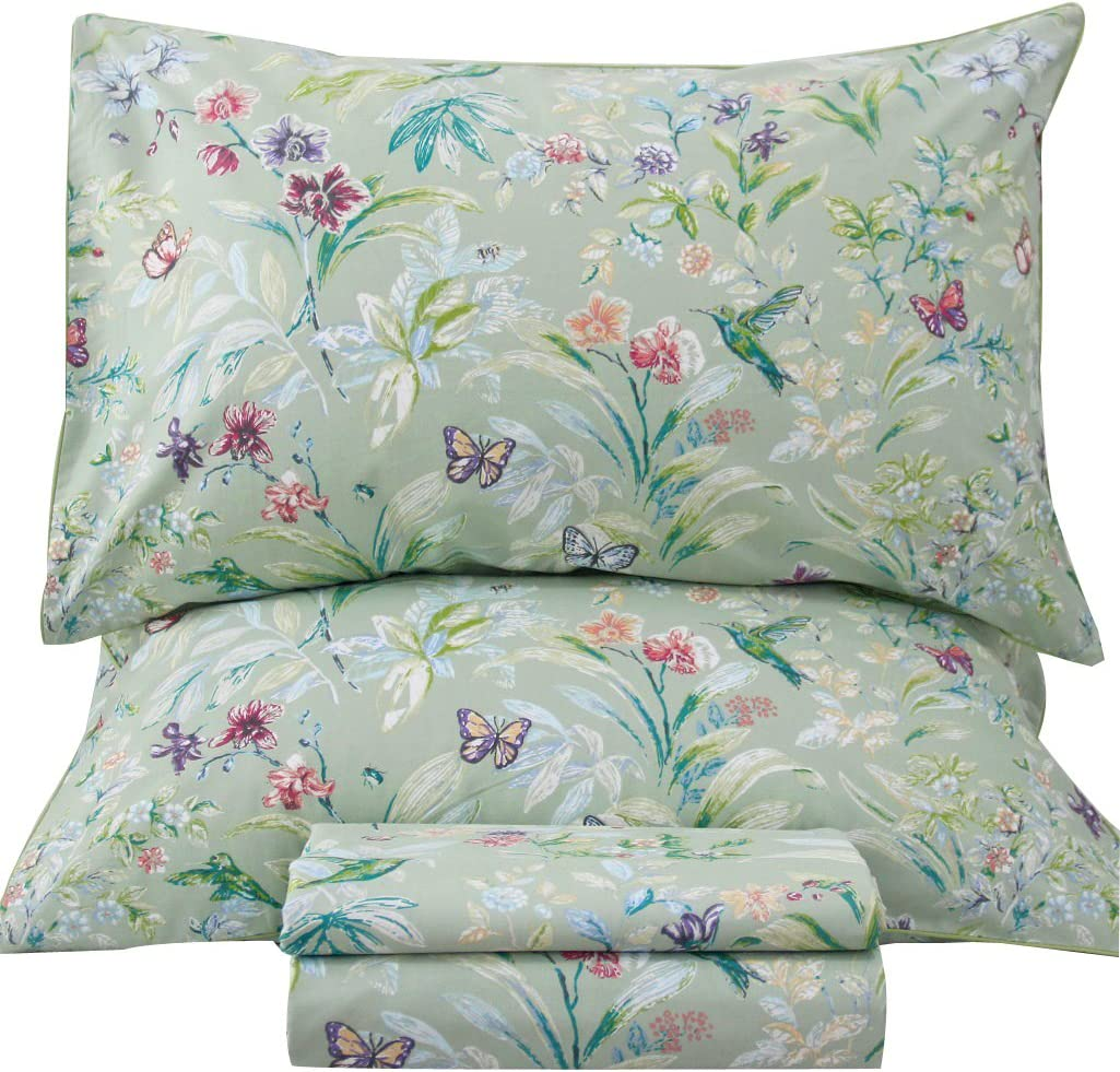 Queen's House Sheets Butterfly Bird Print Bed Sheet Collection Set-King,R