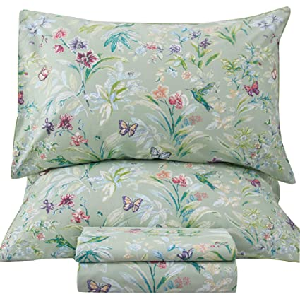 Queenu0027s House Sheets Butterfly Bird Print Bed Sheet Collection Set Queen,R