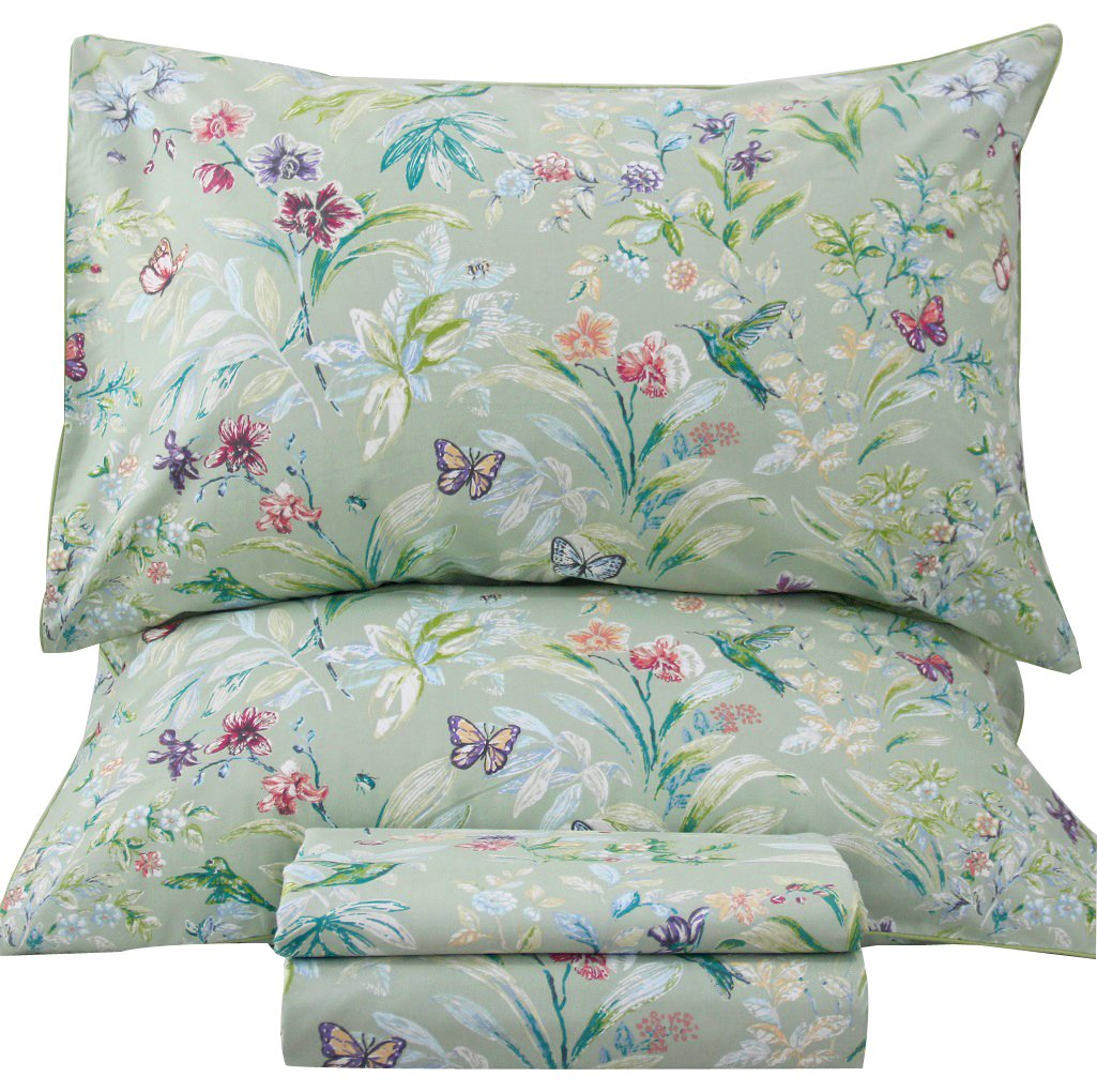 Queen's House Sheets Butterfly Bird Print Bed Sheet Collection Set-Twin,R