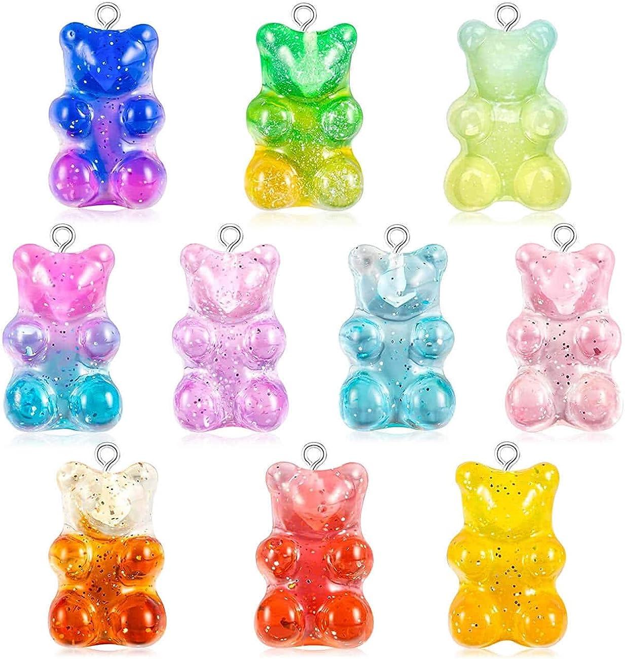 Gradient color gummy bear pendant accessories candy bear keychain accessories child keychain DIY necklace girl earring bracelet pendant jewelry making supplies