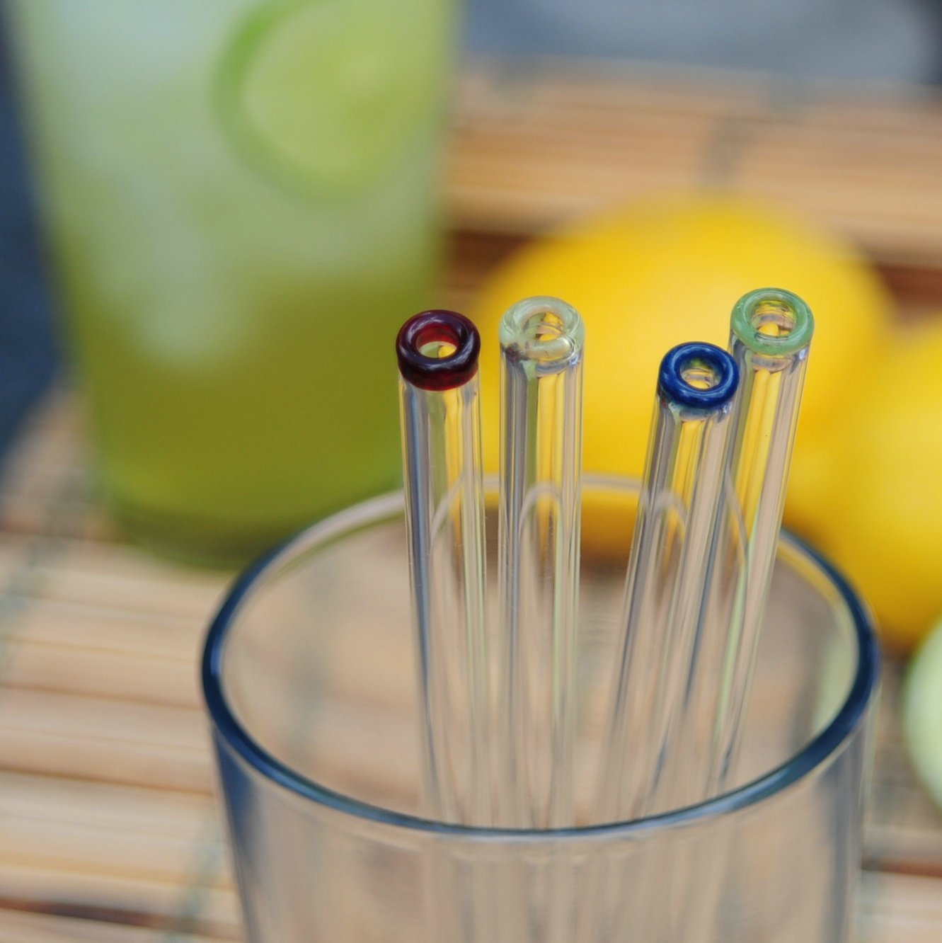Tianyuan Glass Straight Straws With Cleaning Brush 4 Eco Tools 1332 Glow For It Pack Color Tip 9mm Home Kitchen