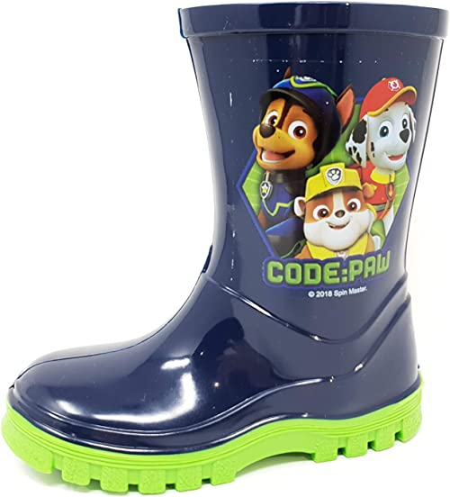 Licensed Paw Patrol Boys Code Paw Wellies Wellington Boots Blue UK Sizes 5-10