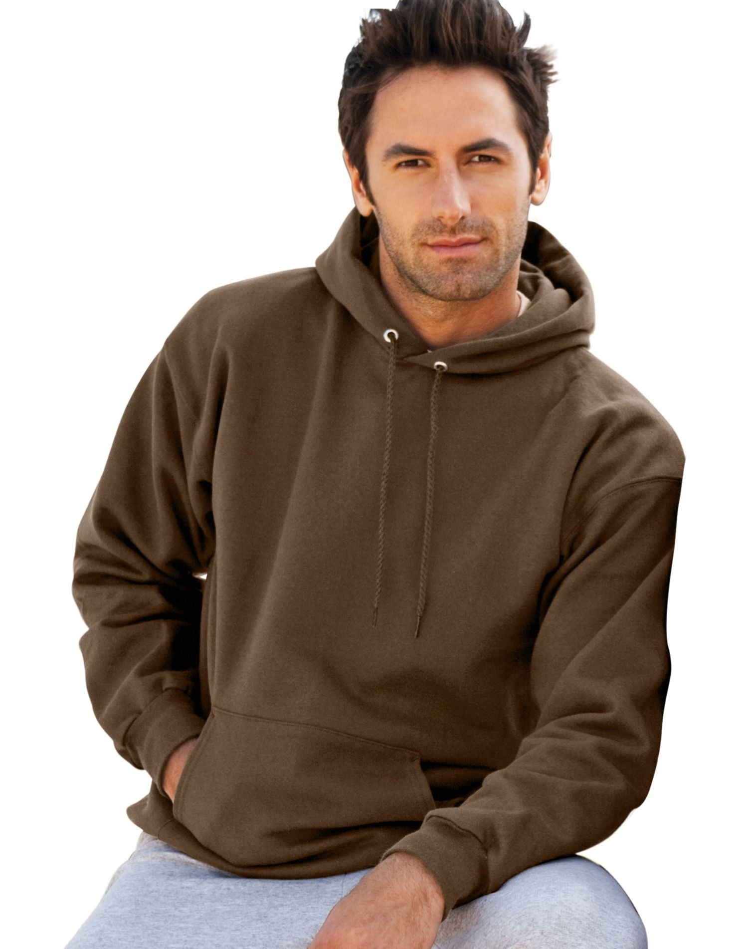 Hanes mens 9.7 oz. Ultimate Cotton 90/10 Pullover Hood(F170)-Dark Chocolate-S