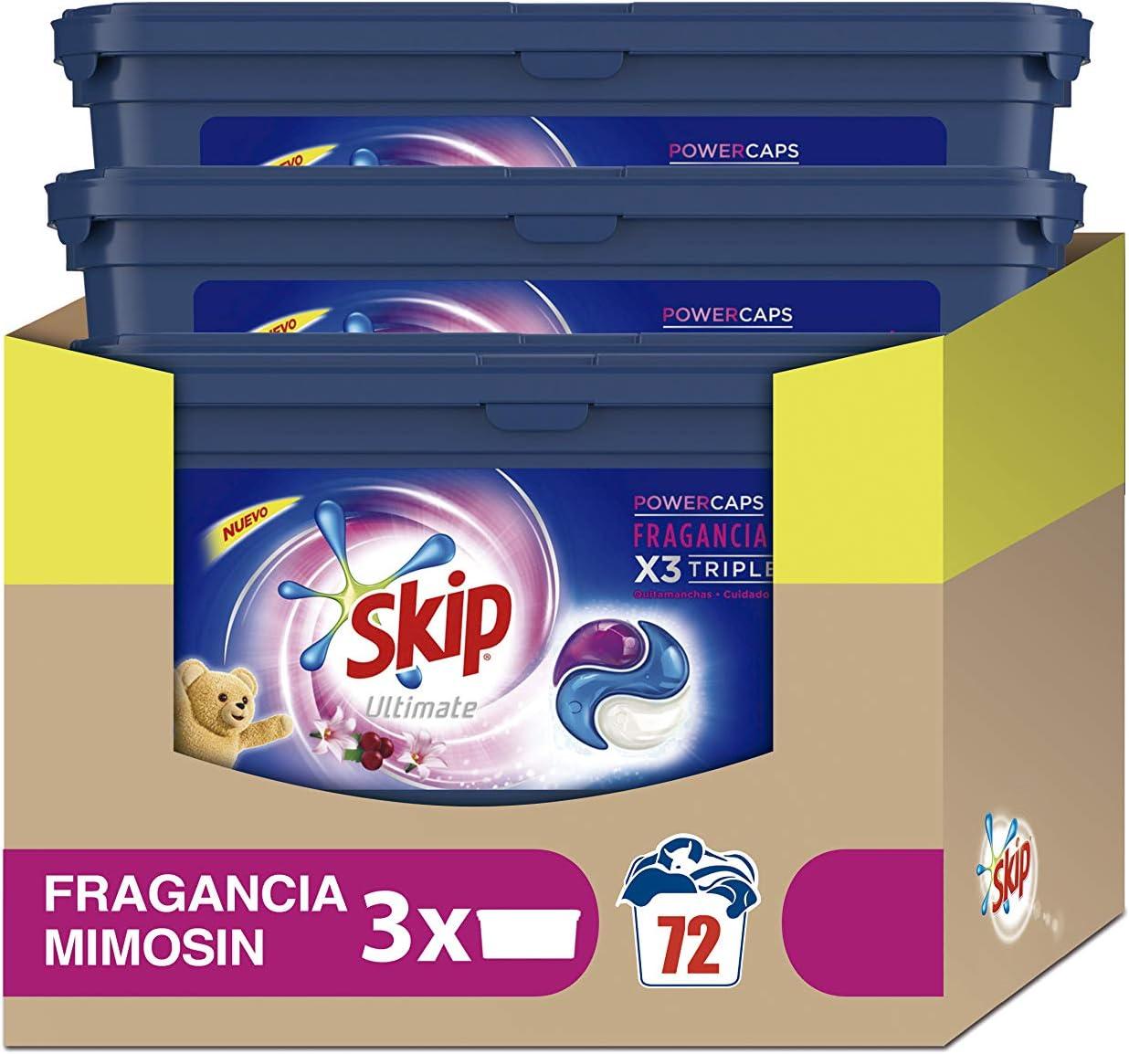 Skip Ultimate Triple Poder Fragancia Mimosín Detergente Cápsulas ...