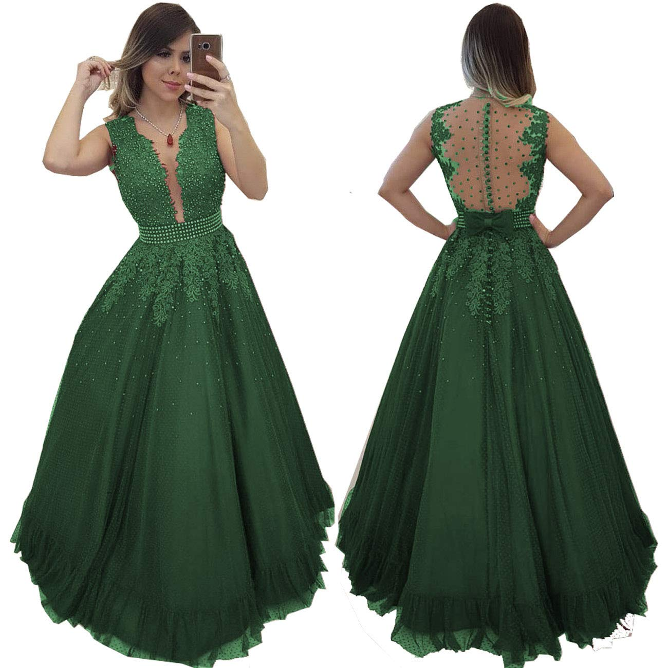 Emerald MariRobe Women's Beaded Lace Applique Prom Dresses Illusion Back Deep v Neck Long Formal Gowns