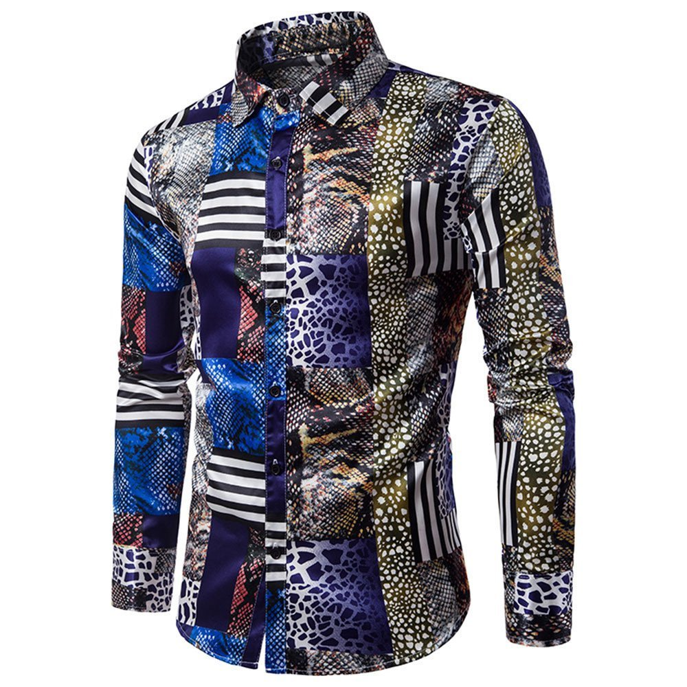 Farjing Shirt for Men, Clearance Sale Men's Casual Personality Slim Long Sleeve Printed Shirt Top Blouse (M,Blue