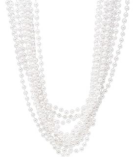 b80e2806a0483 Amazon.com: CrazyPiercing 12 PCS White Pearl Bead Necklaces Flapper ...