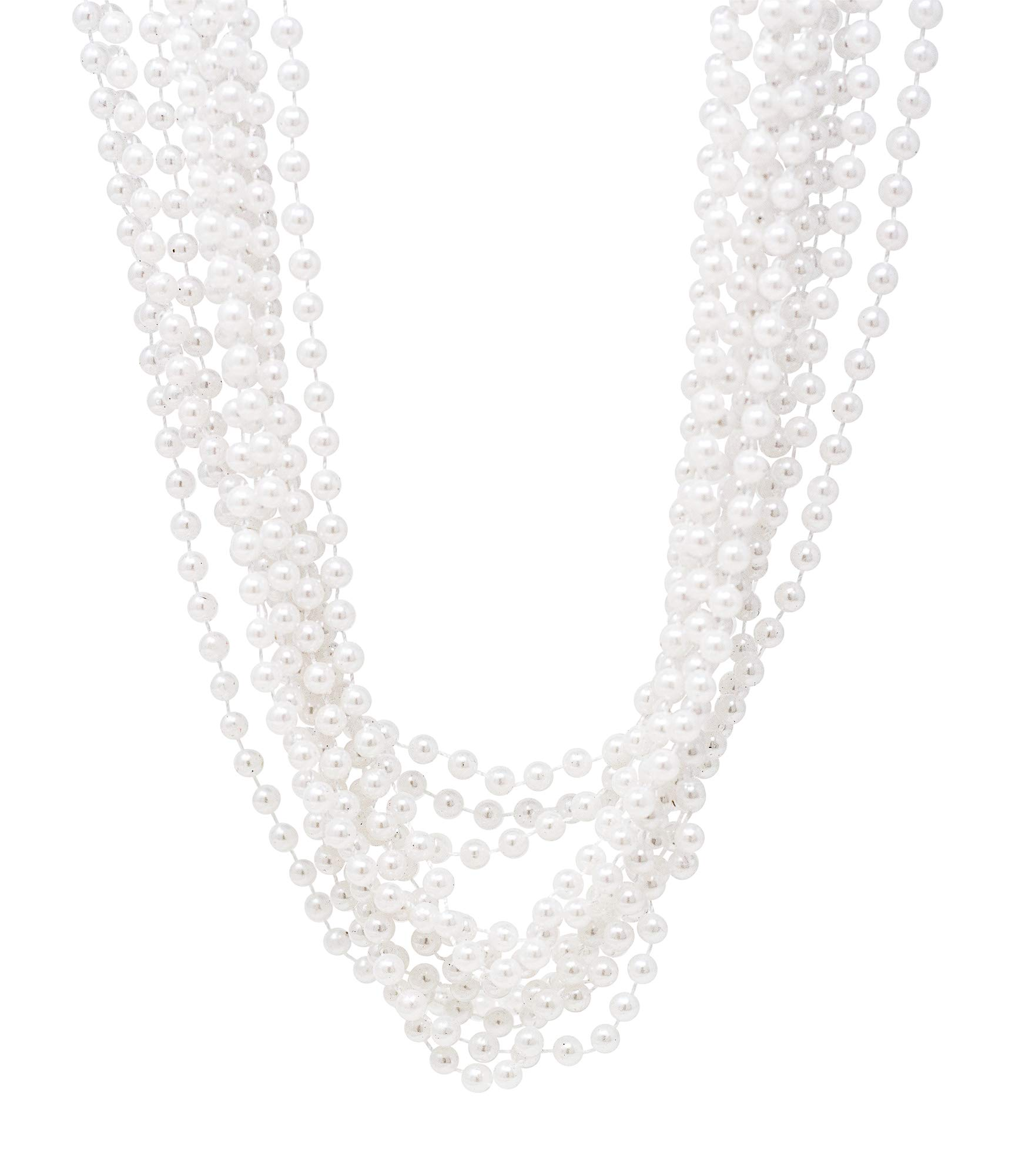 24 Pack Pearl Necklaces For Women - Realistic Looking Fake Pearl Necklace Costume Jewelry - Tea Party Favors & Great Gatsby Party Decorations - Each Necklace Includes 7mm Faux Pearls On 48'' Strand by Edgewood Toys