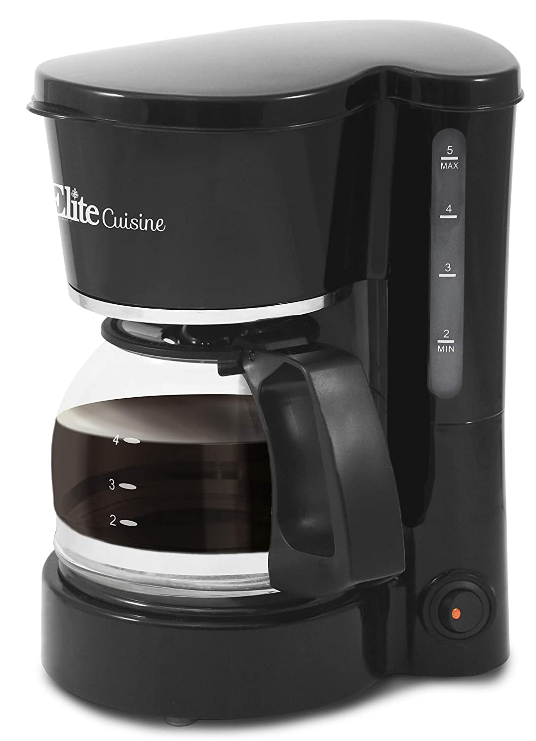 Elite Cuisine EHC-5055 Automatic Brew & Drip Coffee Maker with Pause N Serve Reusable Filter, On/Off Switch, Water Level Indicator, 5 Cup Capacity, Black