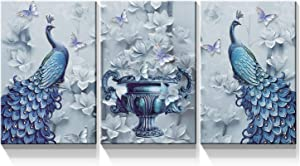 Denozer - 3 Panel Peacock Canvas Wall Art Paintings - Peacock Elegant Flower Pictures On Canvas Animal Wall Decor for Living Room Home Decor Stretched and Framed Ready to Hang - 18