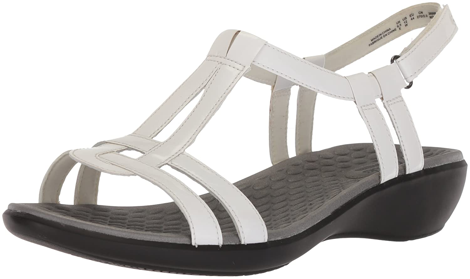 CLARKS Women's Sonar Aster Sandal B00E6UO6IC 5 M US|White Synthetic Patent