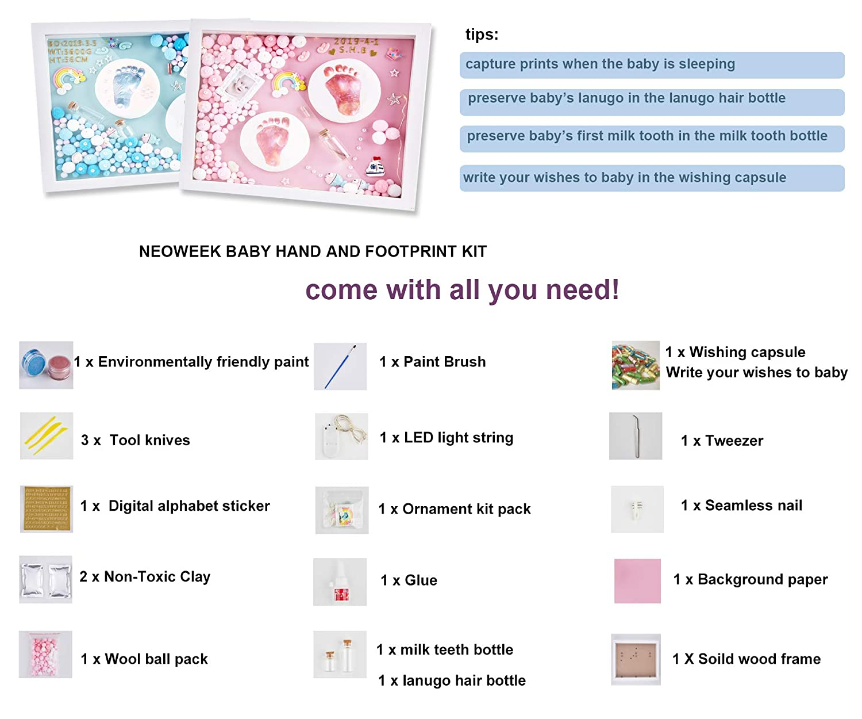 Amazon.com: Marco de fotos con huella de bebé para niños y ...