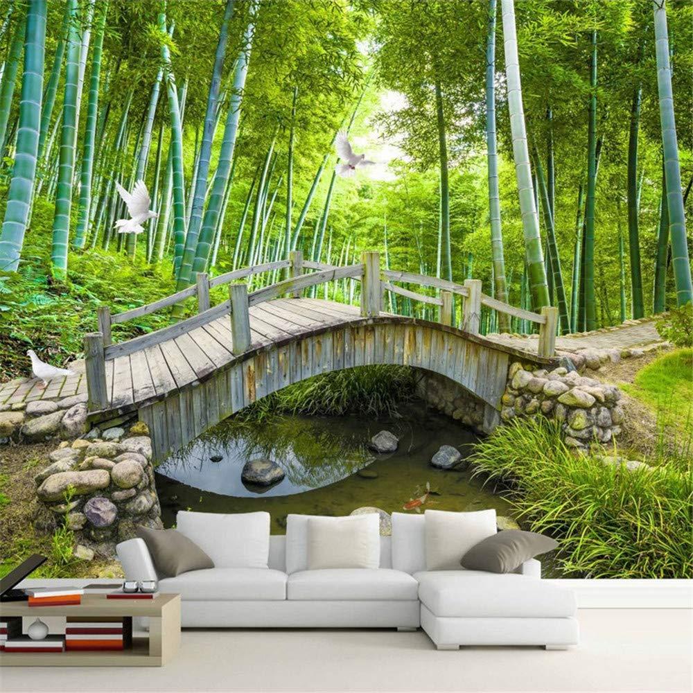 Lvabc Kleine Brücken Benutzerdefinierte Fototapete 3D Bambus Wald Landschaftsmalerei Wanddekoration Wohnzimmer Schlafzimmer Tapete Wandbild 3D-200X140Cm