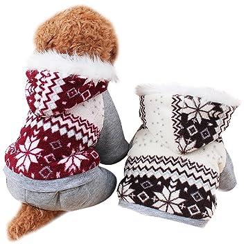 Invierno Ropa Para Perros Mascota Gato Sudaderas de Algodón Caliente (XXL, Rojo): Amazon.es: Hogar