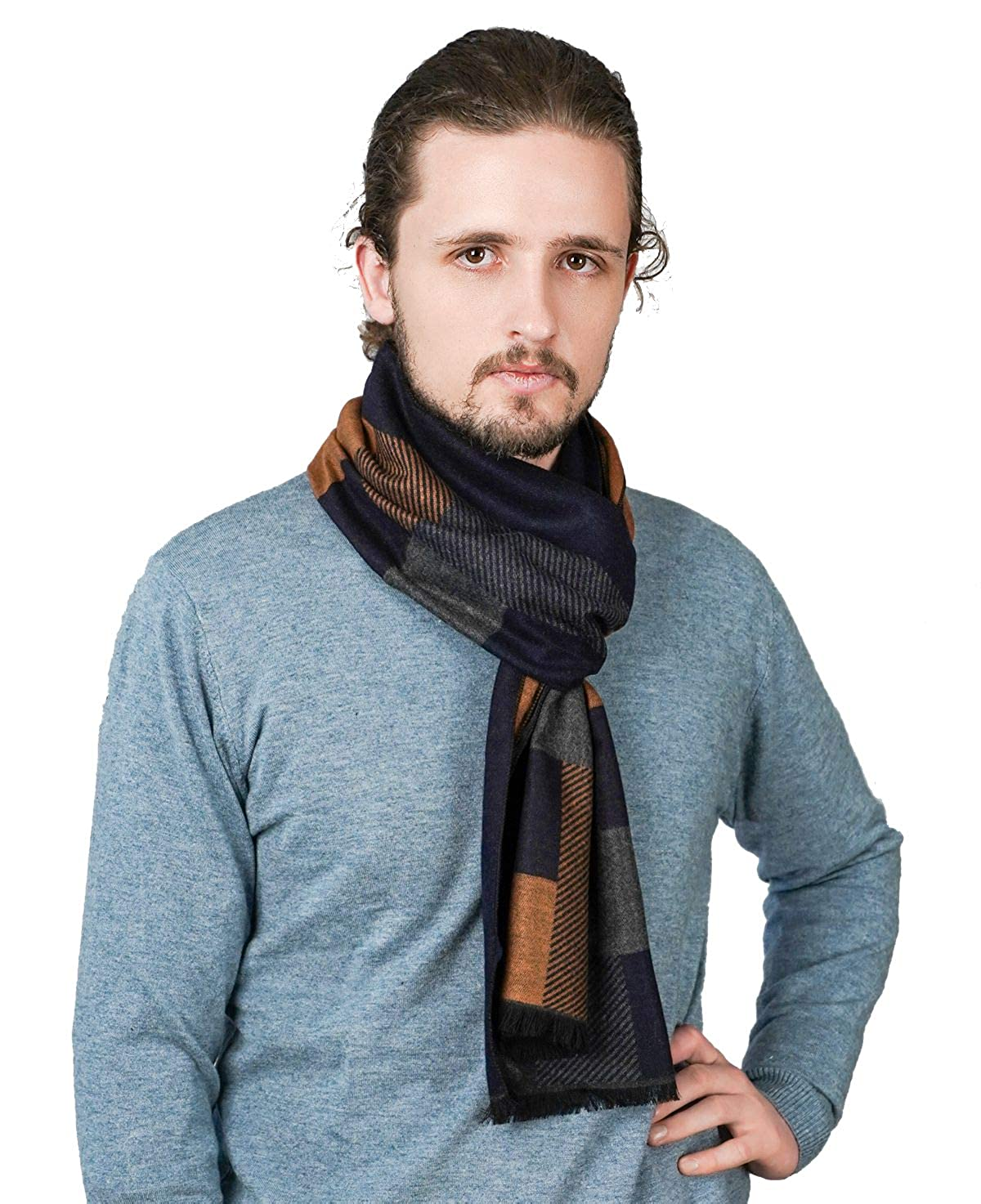 Cold Weather Scarves Fashion Lightweight and Soft Tacther.H Mens Scarf  Winter Cashmere Scarves Clothing, Shoes & Jewelry samel.com.br