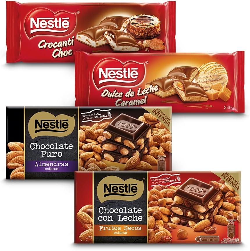 Nestlé Chocolate - Negro con Almendras (200 g) + Con Leche con ...