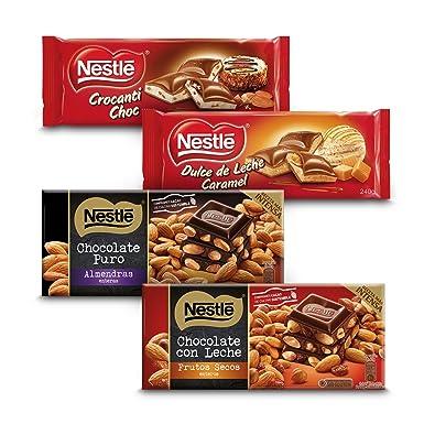 Nestlé Chocolate - Negro con Almendras (200 g) + Con Leche con Frutos Secos