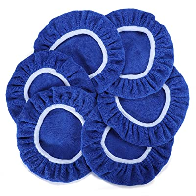 AUTDER Car Polishing Pads (5 to 6 Inch) Polisher Bonnet - Soft Mircofiber Max Waxer Pads - Polishing Bonnet for Most Car Polishers 6Pcs - Blue: Automotive