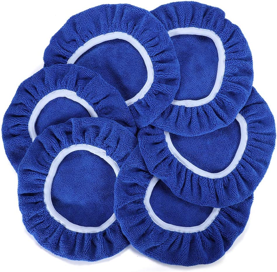 Polishing Bonnet for Most Car Polishers 6Pcs Soft Mircofiber Max Waxer Pads AUTDER Car Polishing Pads 5 to 6 Inch Polisher Bonnet Blue
