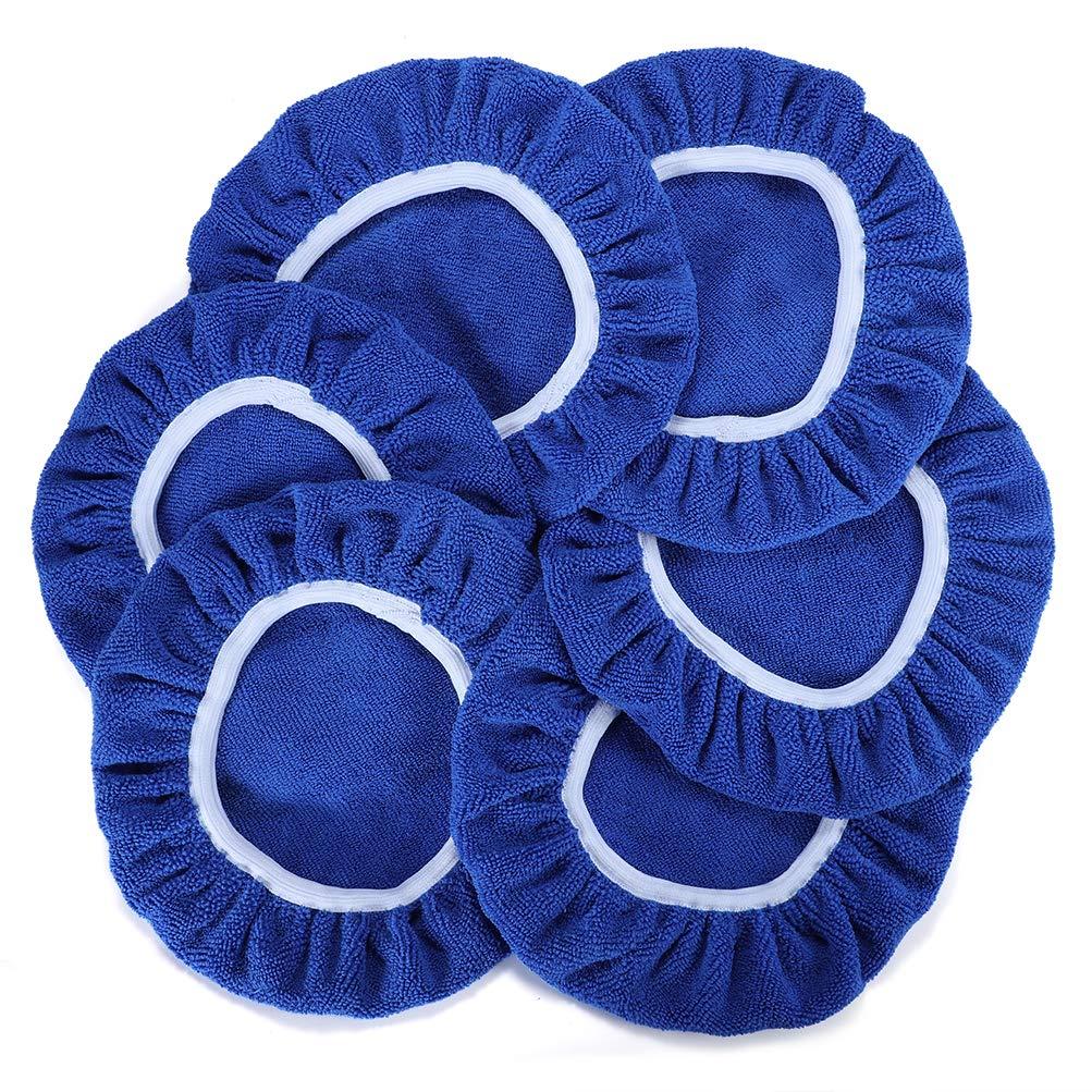 AUTDER Car Polishing Pads (7 to 8 Inch) Polisher Bonnet - Soft Mircofiber Max Waxer Pads - Polishing Bonnet for Most Car Polishers 6Pcs - Blue