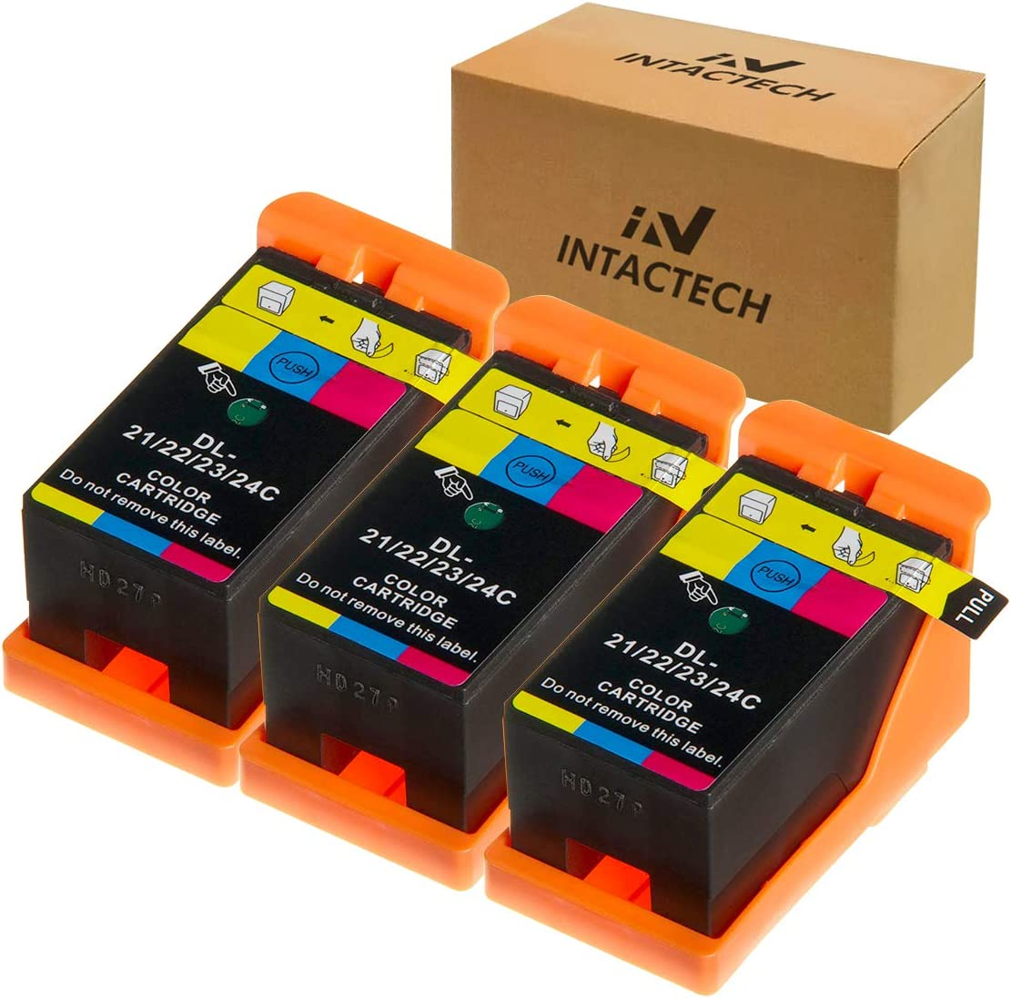 Intactech 3 Color Pack Replacement for Dell V515w, V715w, V313w Ink Cartridges Compatible with Dell Series 21 22 23 24 Work for Dell V313, V313w, V515w, V715w, P513w, P713w Printer