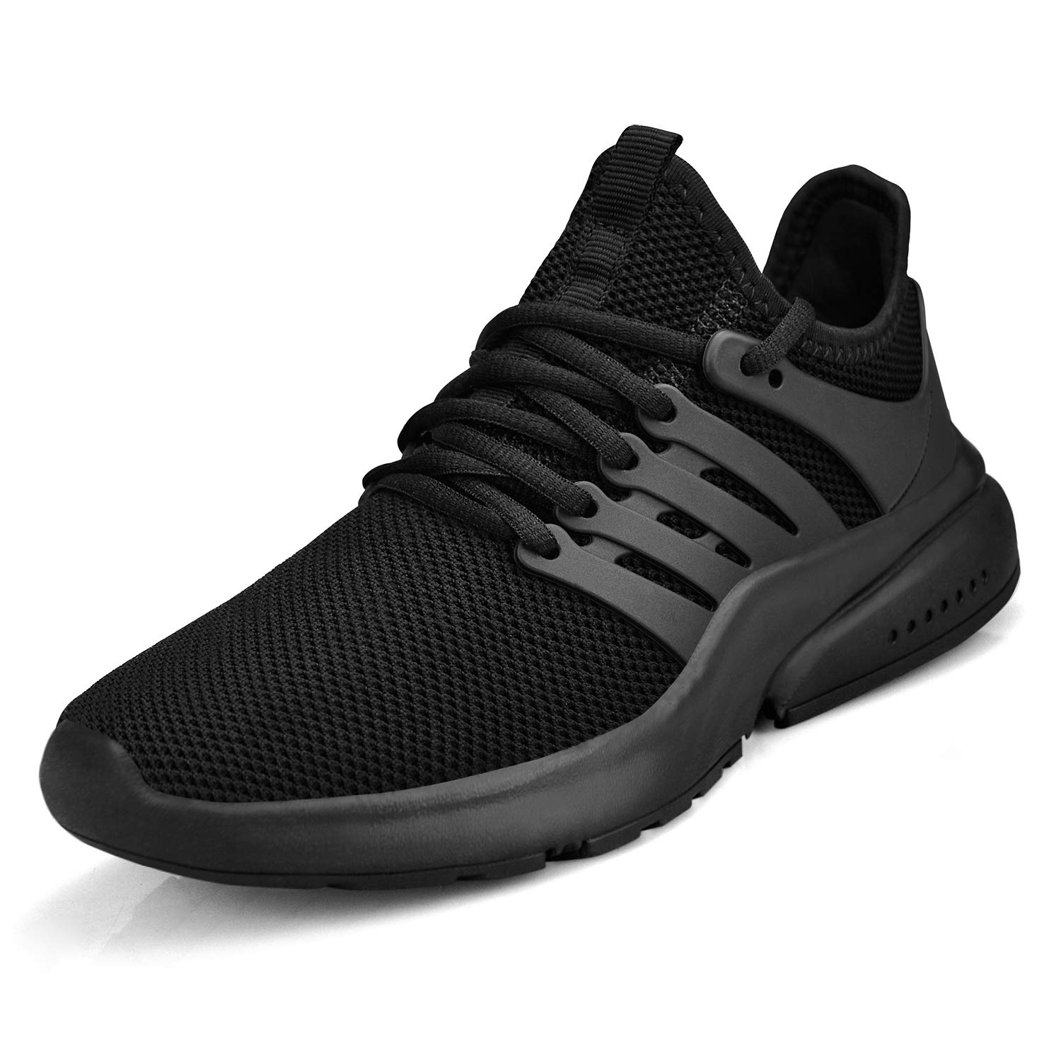 All Black Feetmat Women's Running shoes Lightweight Non Slip Breathable Mesh Sneakers Sports Athletic Walking shoes