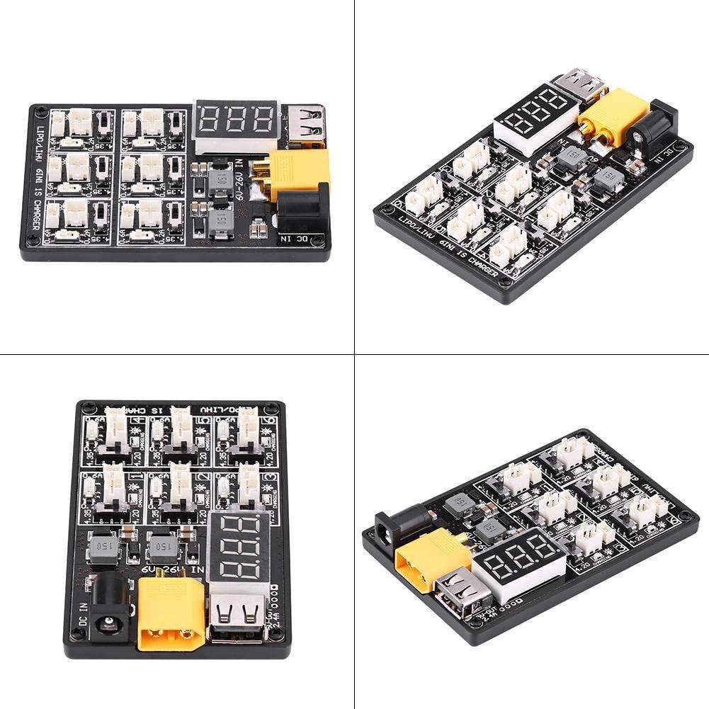 1s 6 in 1 paralleler Stil Ladeplatine f/ür LiPo Batterieanschl/üsse mit USB Schnittstellenladeger/ät Alomejor RC Lipo Ladeplatine