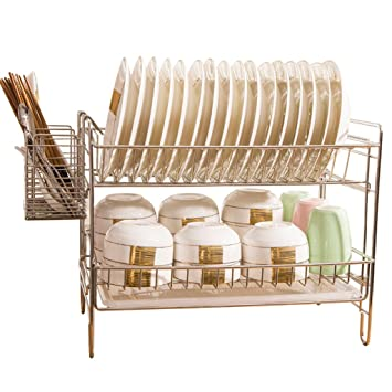 Estante de vajilla Rejilla para desagüe con Rejilla para Platos de Acero Inoxidable 304 Estante para la Cocina Repisa para cestillos Dobles Estante para ...