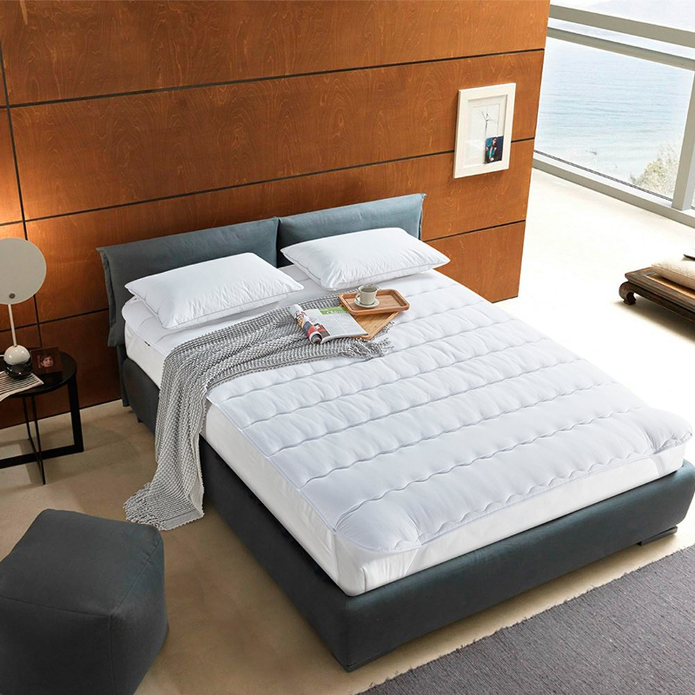 DULPLAY ホワイト マットレス ベッド,マットレス トッパー, 式 スリップ マットレス パッド プロテクター, 低 代替の塗りつぶしを 抗菌90*200cm B07F6JV7S3 90*200cm|White White 90*200cm