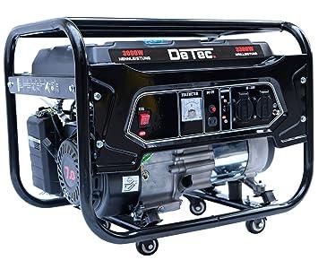 DeTec -Generador eléctrico de gasolina, genera corriente de 3,3 kW/3300 W 230 V, grupo electrógeno para emergencias: Amazon.es: Bricolaje y herramientas