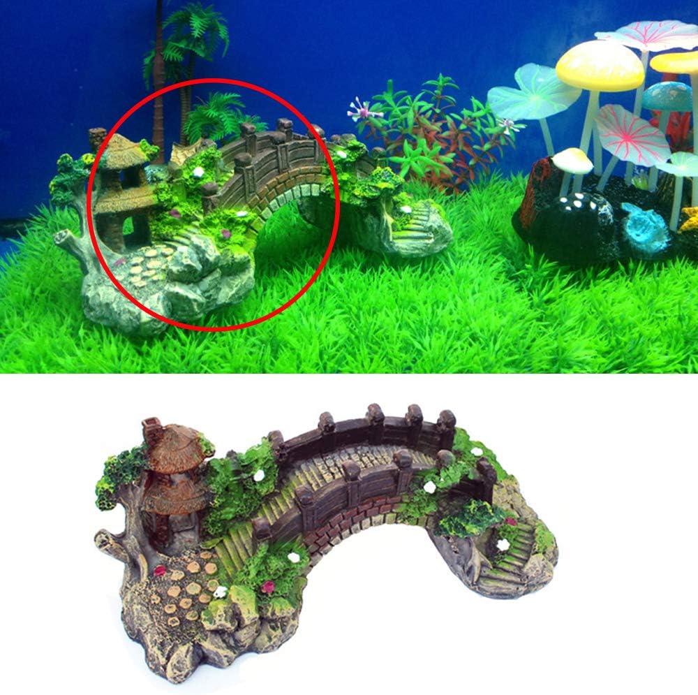 Landscaping Rockery Bridge Simulation Plants for Fish Tank Aquarium Decoration Aquarium Decorations