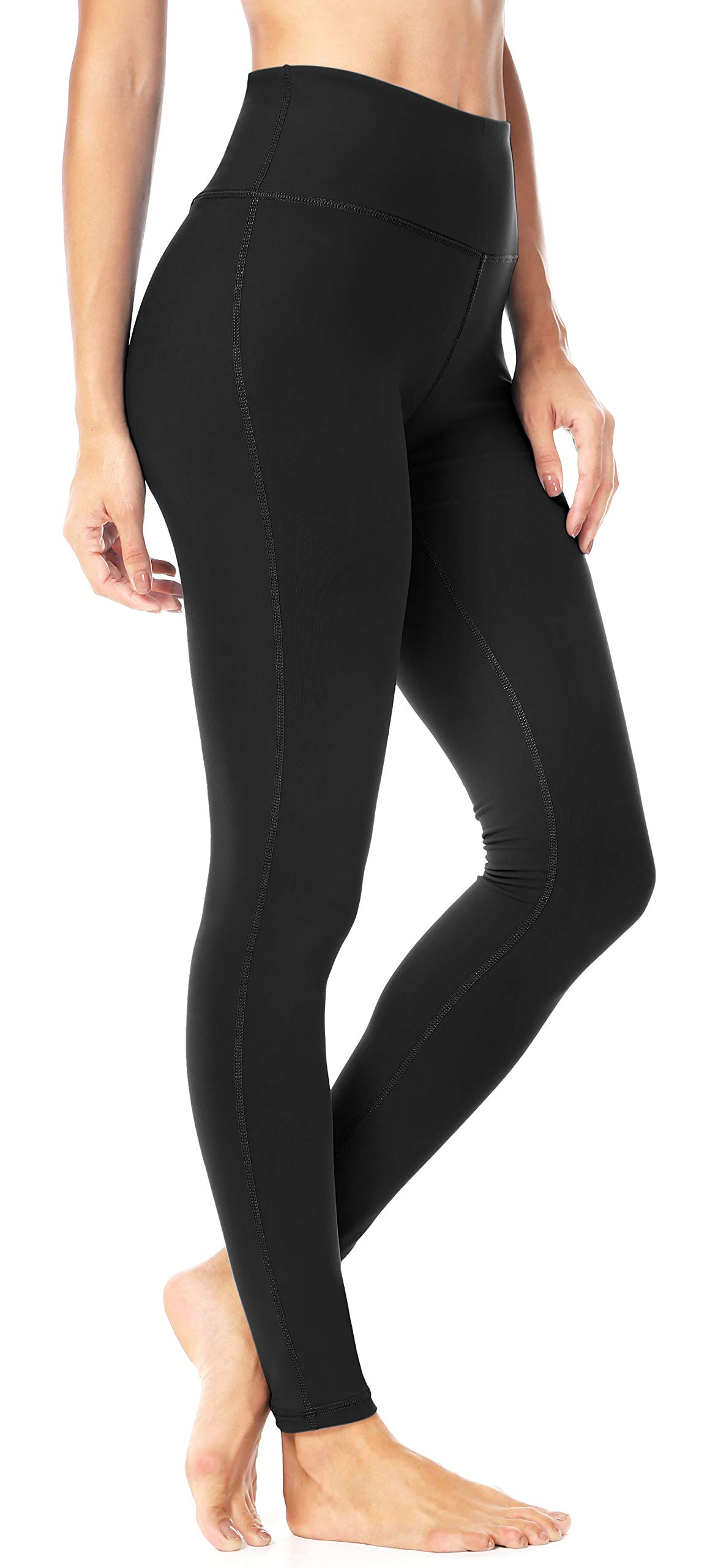 QUEENIEKE Women Yoga Leggings Workout Tights Running Pants Size L Color Midnight Black Long