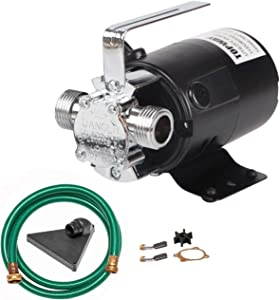 TOPWAY 115V Water Transfer Electric Sump Utility Pump 330 GPH 1/10HP with Water Hose Kit