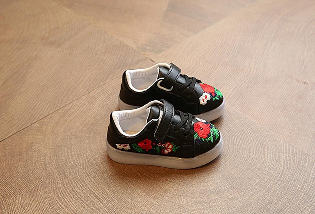 FORESTIME Toddler Girl Children Boy Skate Stitchwork Floral Baby Shoes LED Light Luminous Sneakers
