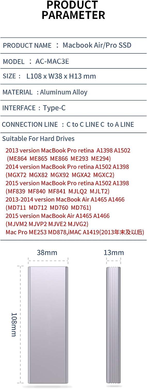 XT-XINTE Lega di Alluminio Tipo-C a 16+12 Pin Mobile Box HDD Enclosure per Air Pro 2013 2014 2015 2016 SSD Custodia Portatile